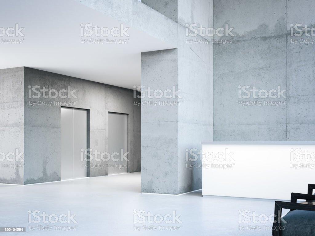 Moderne Halle mit Aufzügen. 3D-Rendering – Foto