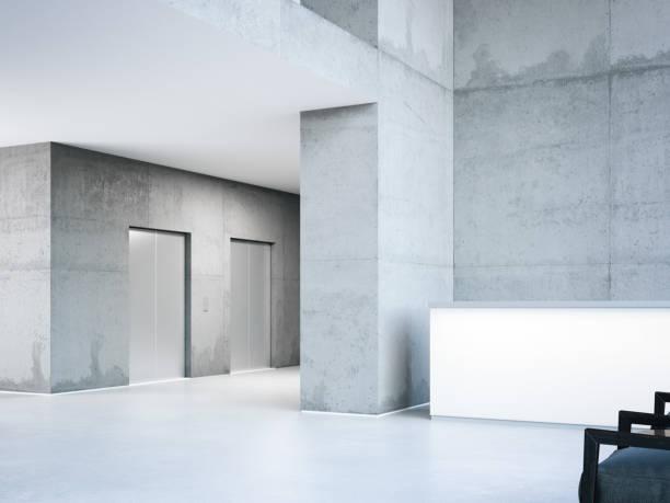 エレベーター ホールでモダンな建物。3 d レンダリング ストックフォト