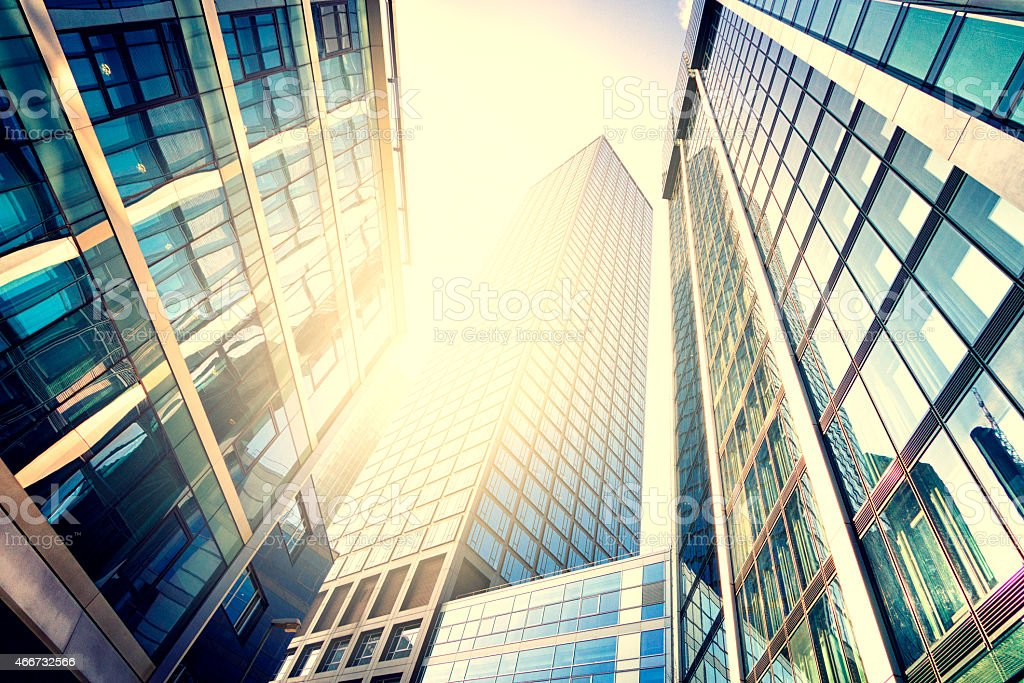 Modern building in bright sunlight stock photo