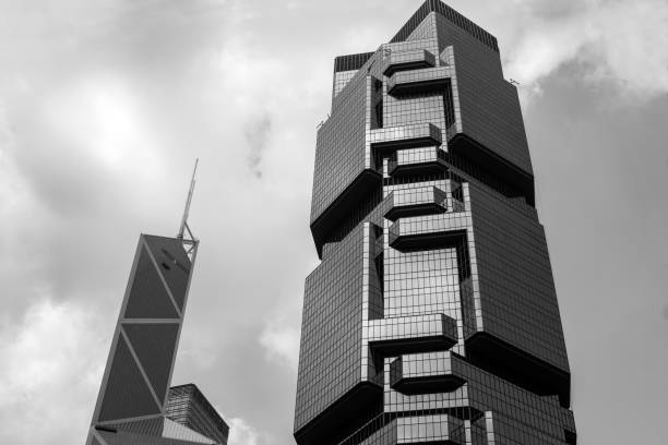 Modern building in Hong Kong, black and white stock photo