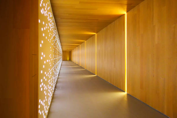 modern building interiors - corridor stock photos and pictures