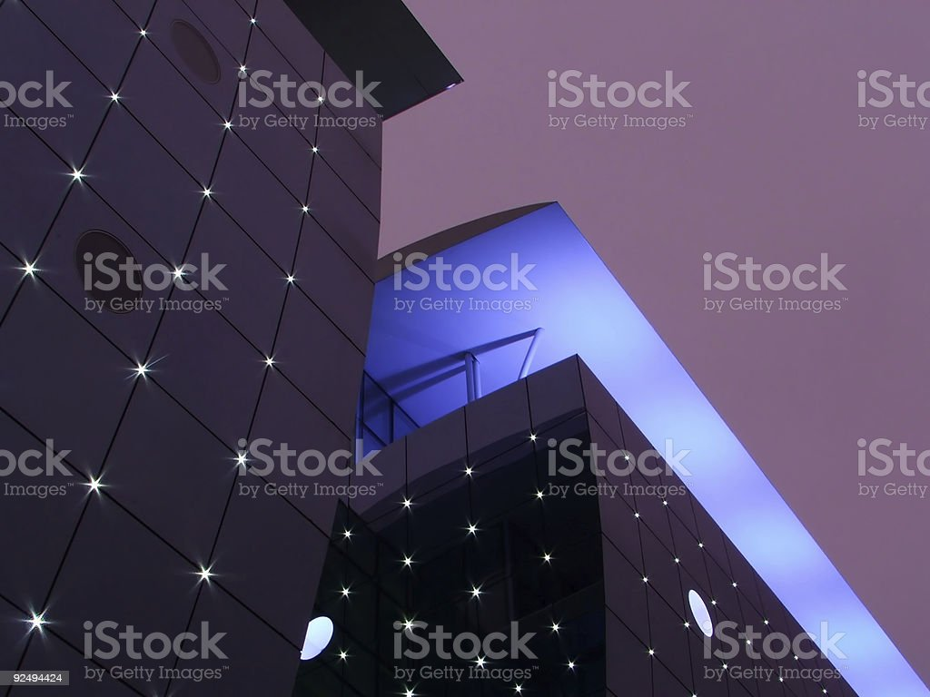 Modern building - Nice magenta sky royalty-free stock photo