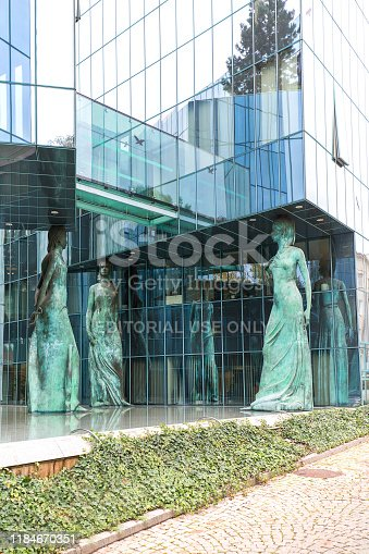 istock Modern building of Supreme Court of Poland, statues of caryatids symbolizing faith, hope and love, Warsaw, Poland 1184670351