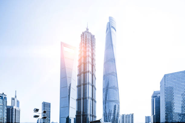 Modern building of the lujiazui financial Shanghai, China - East Asia, Lujiazui, Shanghai, Architecture jin mao tower stock pictures, royalty-free photos & images