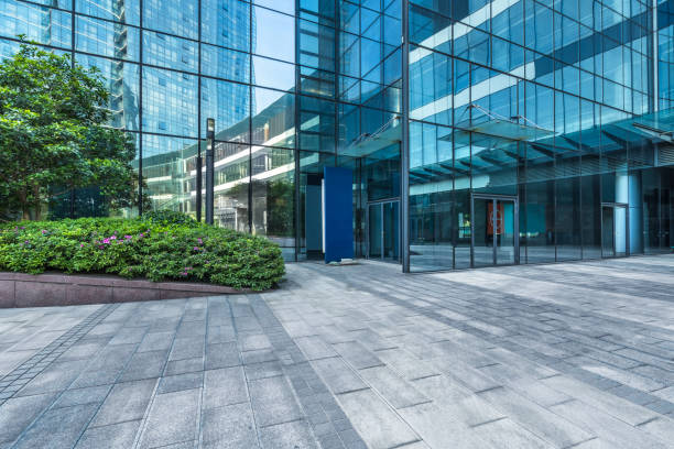 modern building outdoors - entrance stock photos and pictures