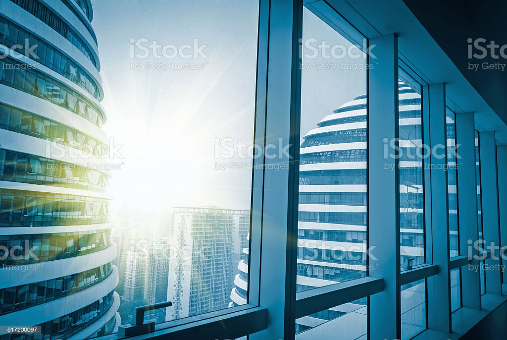Modern building outside the window stock photo