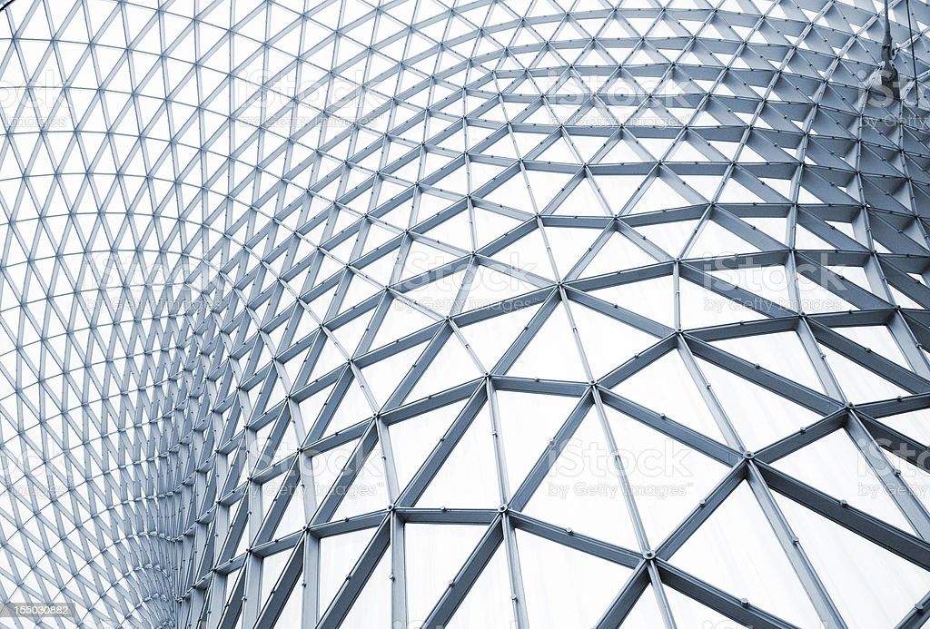 Modern building structure with curving steel stock photo