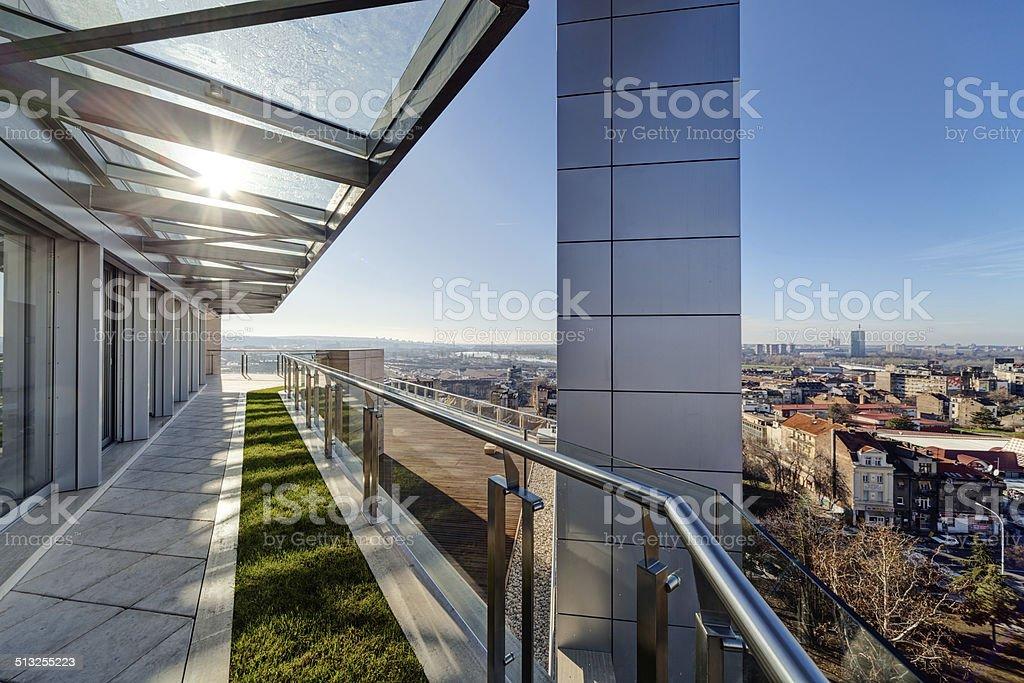 Modern building terrace stock photo