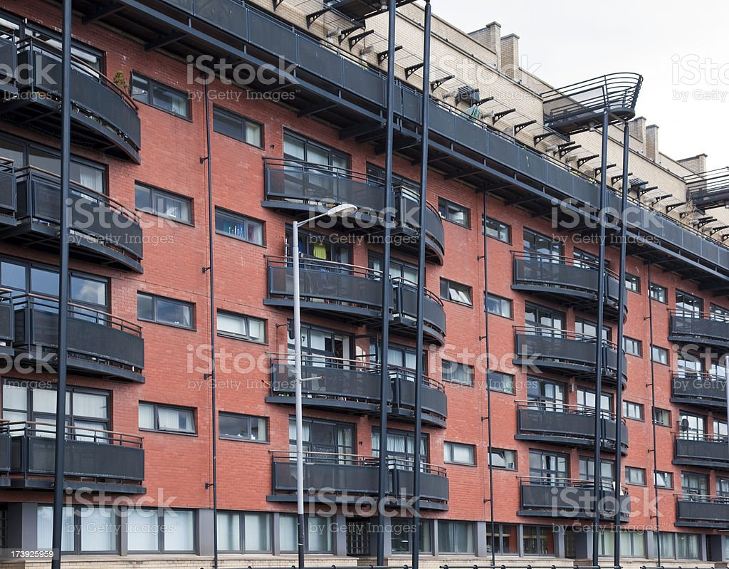 Modern building with balconies - Glasgow architecture royalty-free stock photo