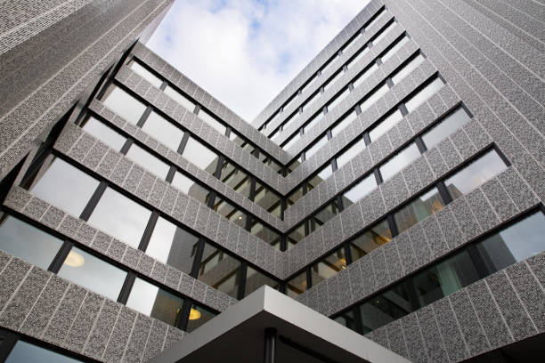 Modern building with big windows in Oslo stock photo