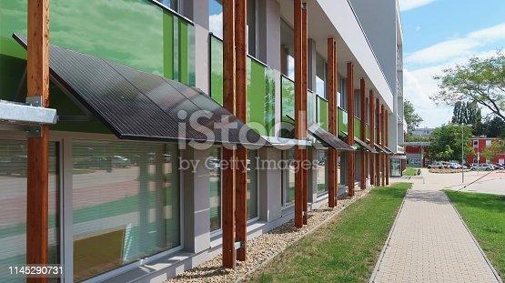 Prague Czech Republic, Czech agricultural university building equiped with modern solar  panels technology