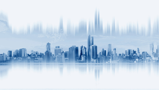 istock Modern buildings, abstract city network connection, on white background 911910824