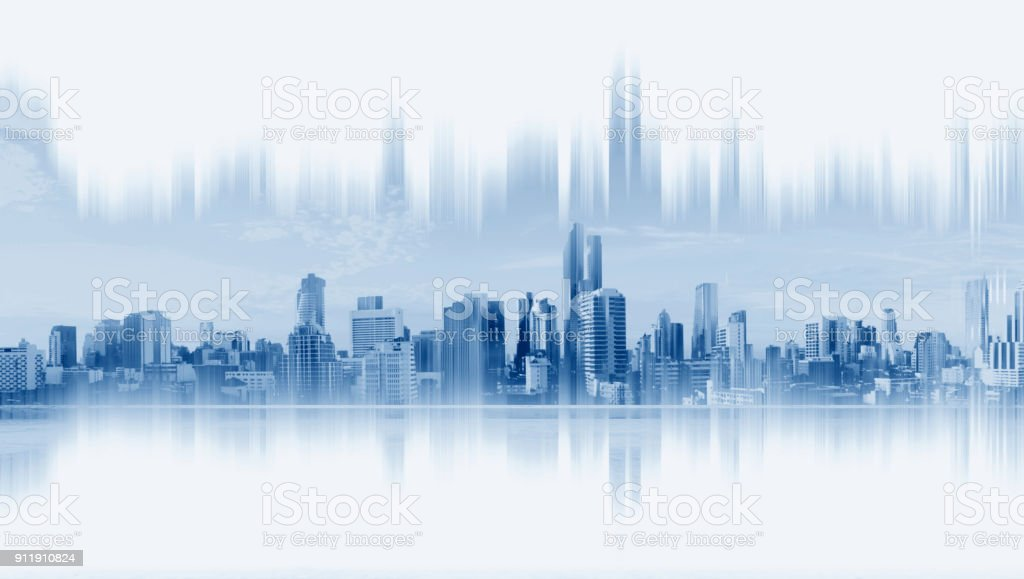 Modern buildings, abstract city network connection, on white background stock photo