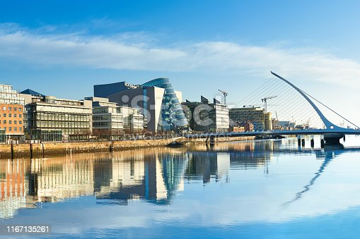 Modern buildings and offices on Liffey river in Dublin on a bright sunny day, bridge on the right is a famous Harp bridge.
