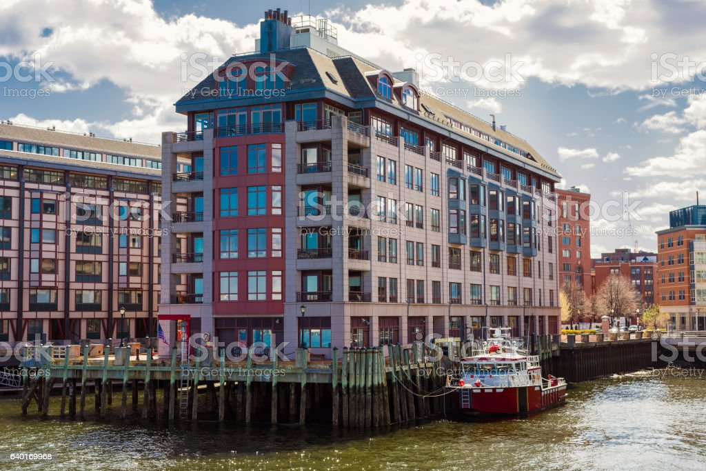 Modern Buildings at Burroughs Wharf at Charles River in Boston stock photo