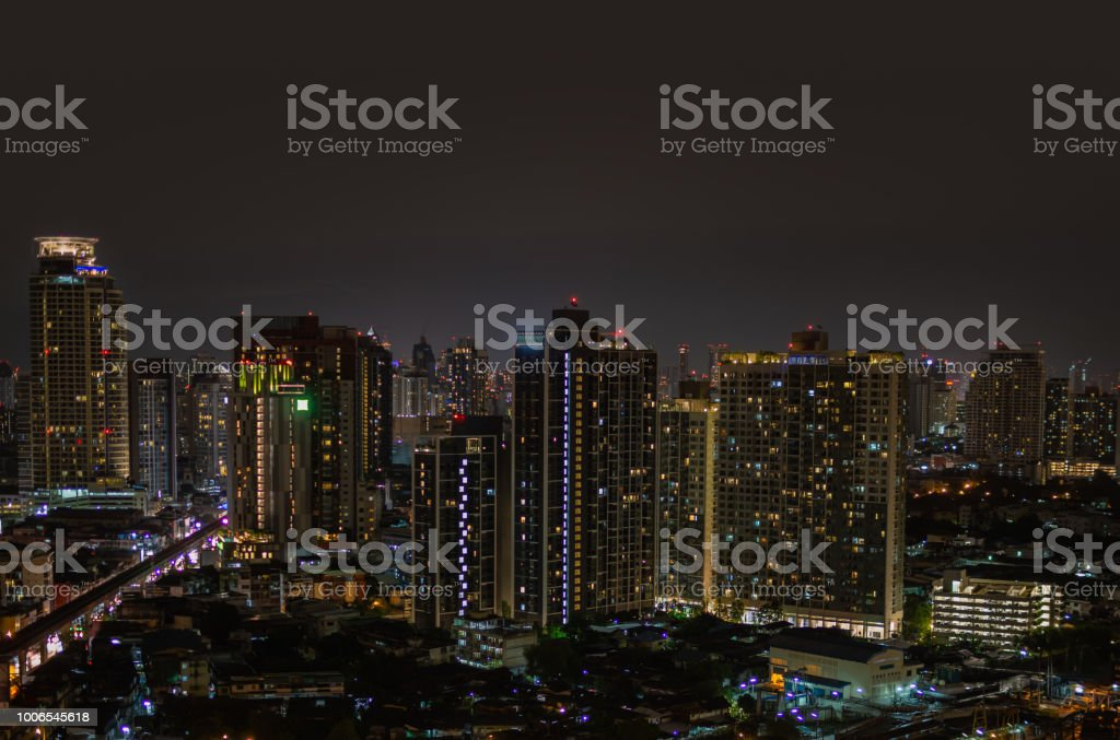 Modern buildings at night in urban city stock photo