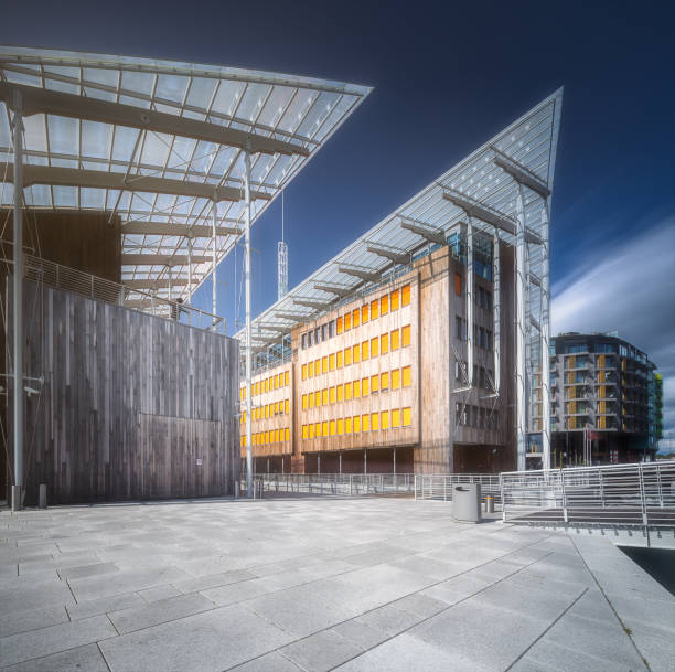 Modern buildings at riverbank in Oslo, Norway stock photo