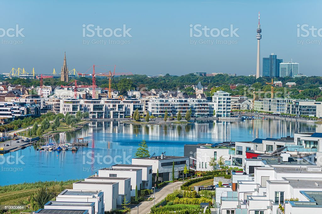 Modern buildings at the phoenix-lake in Dortmund (Nordrhein Westfalen) Germany stock photo