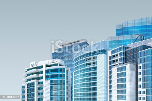 istock Modern buildings background for facility management, with copy space 521890167