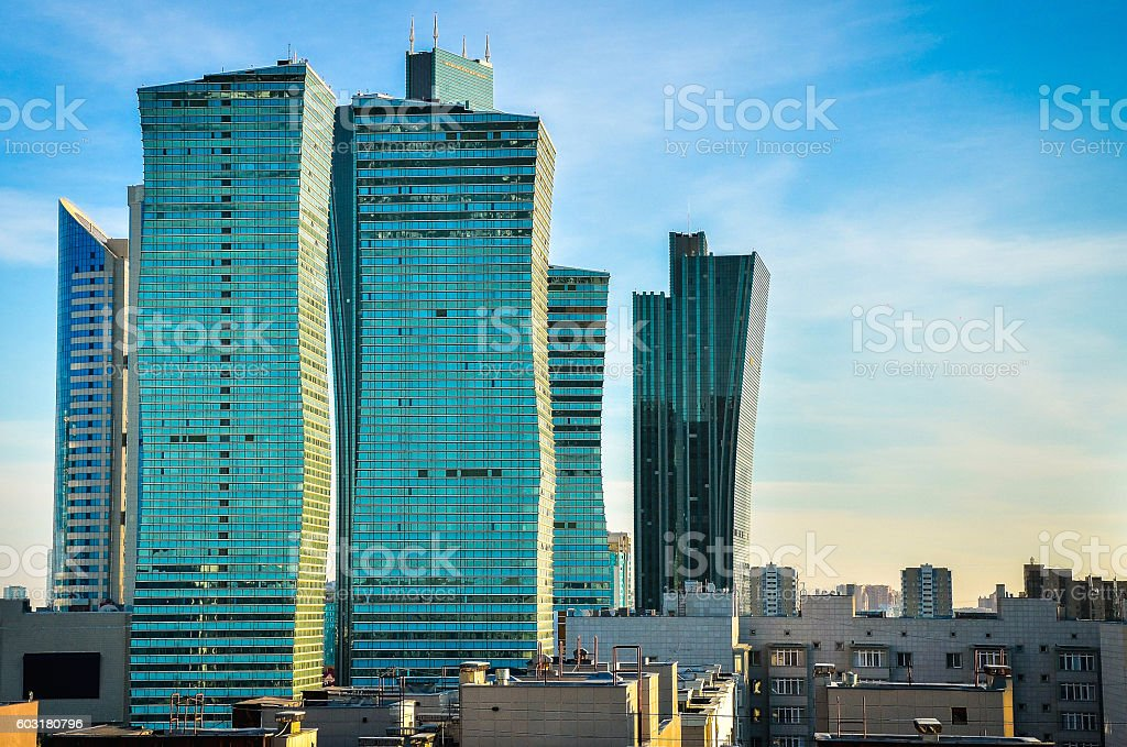 Modern buildings in Astana stock photo