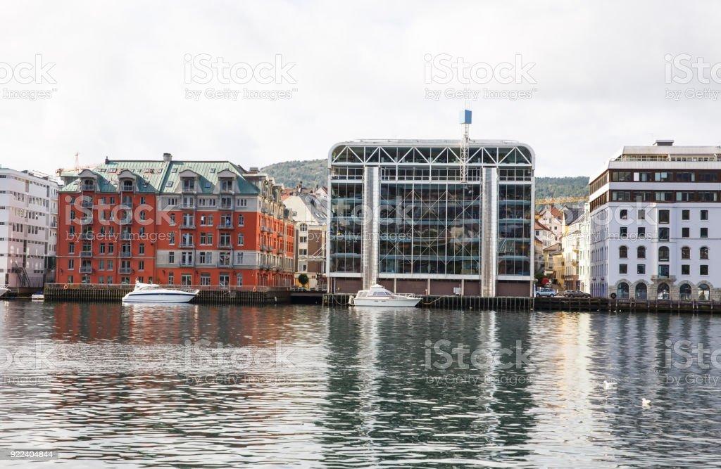 Modern buildings in Bergen stock photo