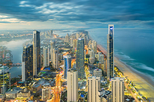 Modern buildings in Gold Coast during sunset stock photo