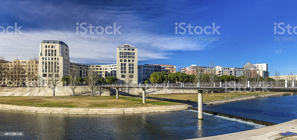 Modern buildings in Montpellier by river Lez - France stock photo