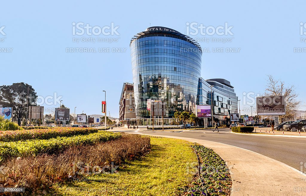 Modern buildings in Podgorica, Montenegro stock photo