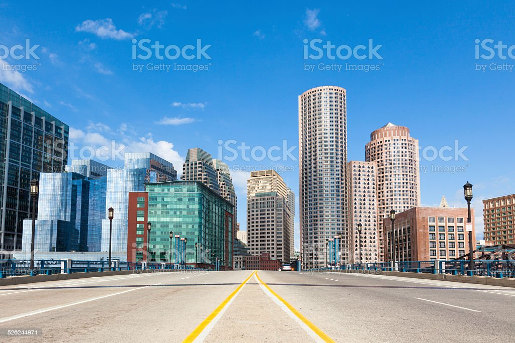 Modern buildings in The financial district in Boston - USA stock photo