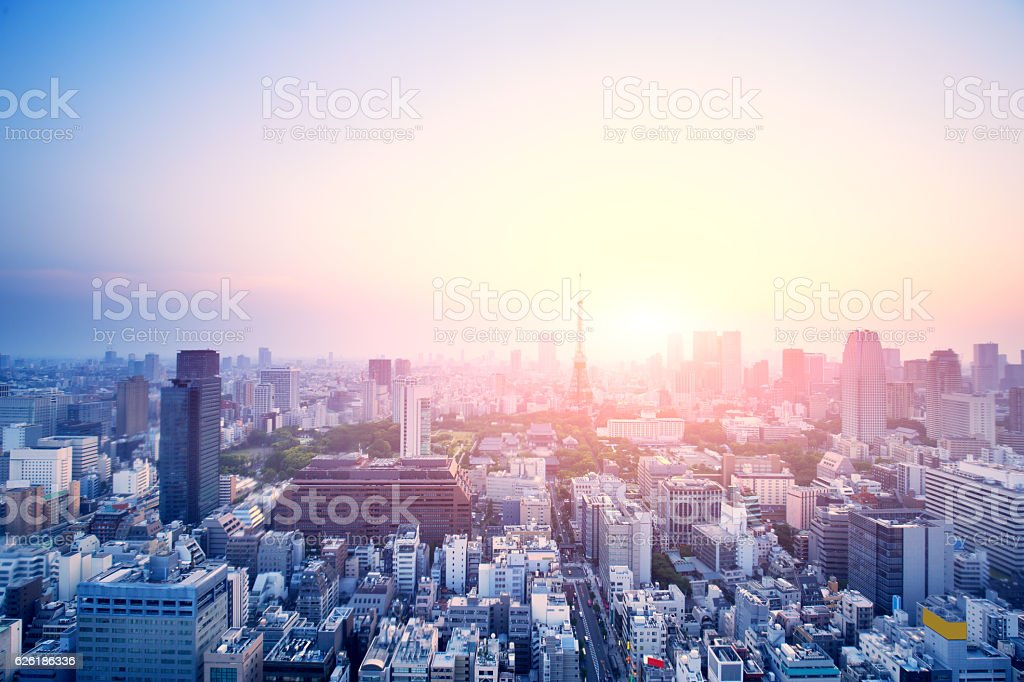 modern buildings in tokyo at sunrise ストックフォト