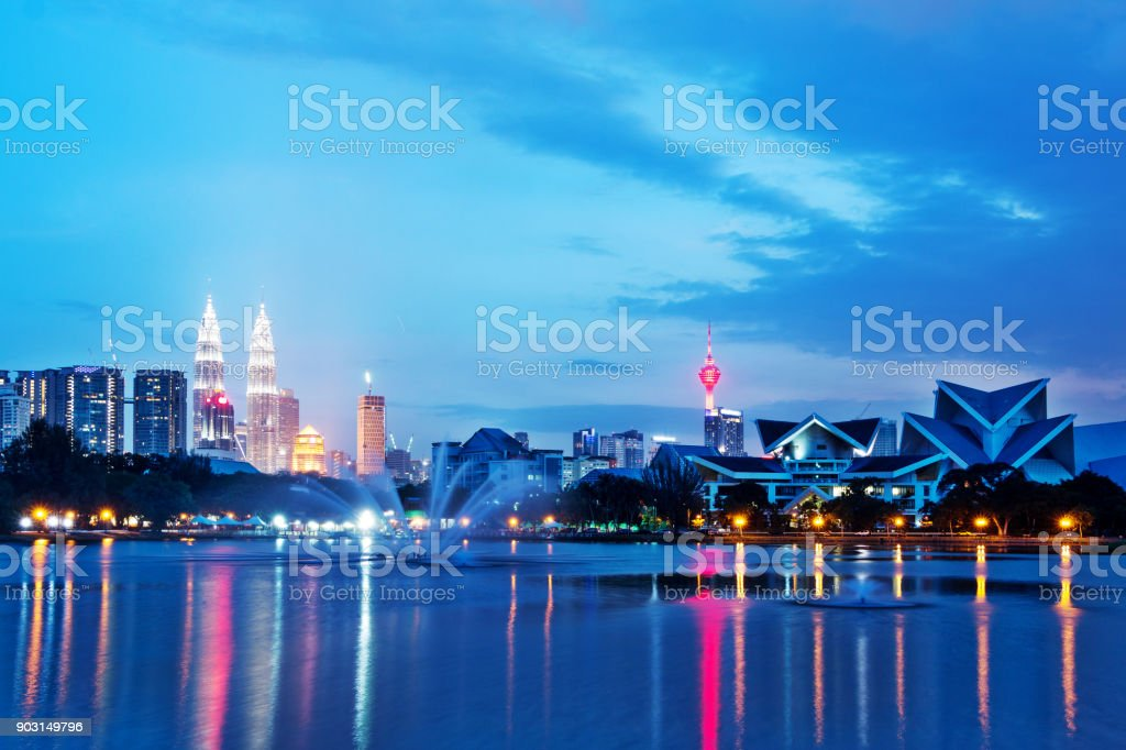 modern buildings near water in midtown of modern city stock photo