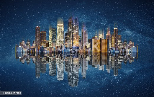 1082409706 istock photo Modern buildings technology. Abstract cityscape with reflection and starry background 1133305789