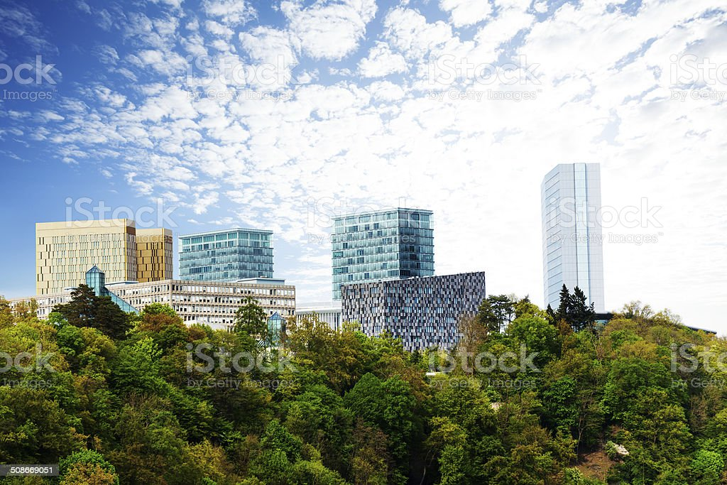 Modern buildings with beautiful sky in Luxembourg stock photo