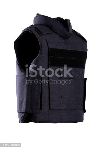 Modern bulletproof vest isolated on a white background.