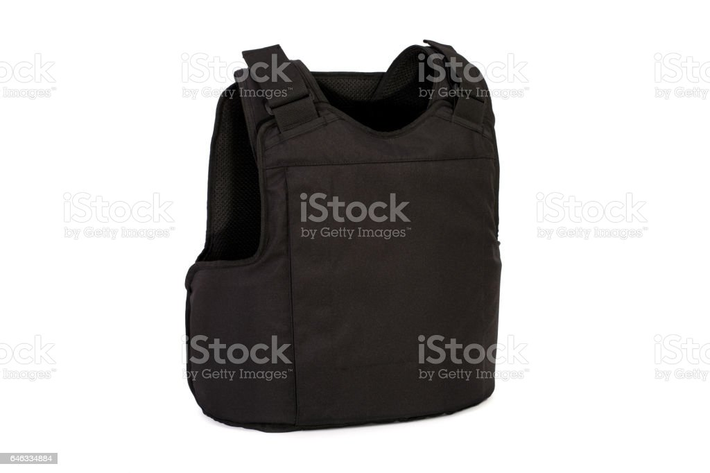 Modern bulletproof vest isolated on a white background stock photo