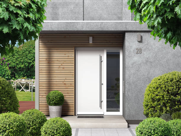 Modern bungalow house facade with front door entry Modern home facade with entrance, front door and view to the garden - 3D rendering doorway stock pictures, royalty-free photos & images