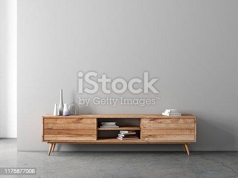 Modern bureau or tv console mockup in empty living room, 3d rendering