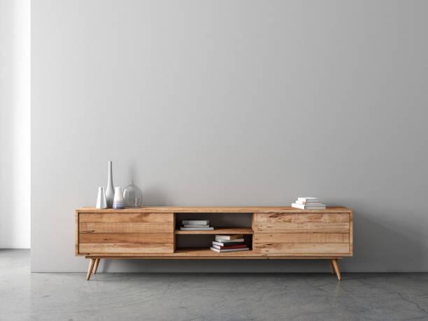 modern bureau or tv console mockup in empty living room - mesa mobília imagens e fotografias de stock
