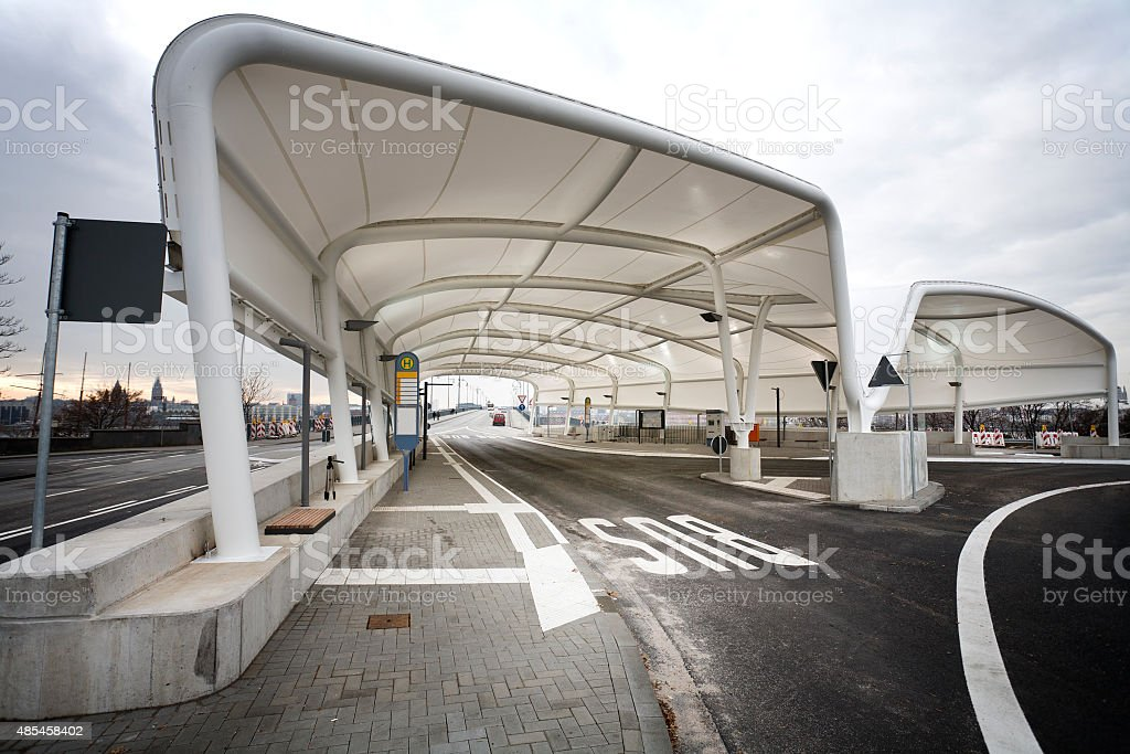 Modern bus station, Mainz Kastel, Germany stock photo