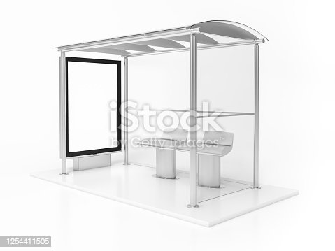 693455040 istock photo Modern bus stop with blank white poster. Close up, Mock up 3D Rendering. 3d illustration Bus stop with blank banners LED light isolated on white background. 1254411505