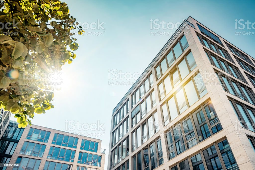modern business architecture in berlin with sun reflection royalty-free 스톡 사진