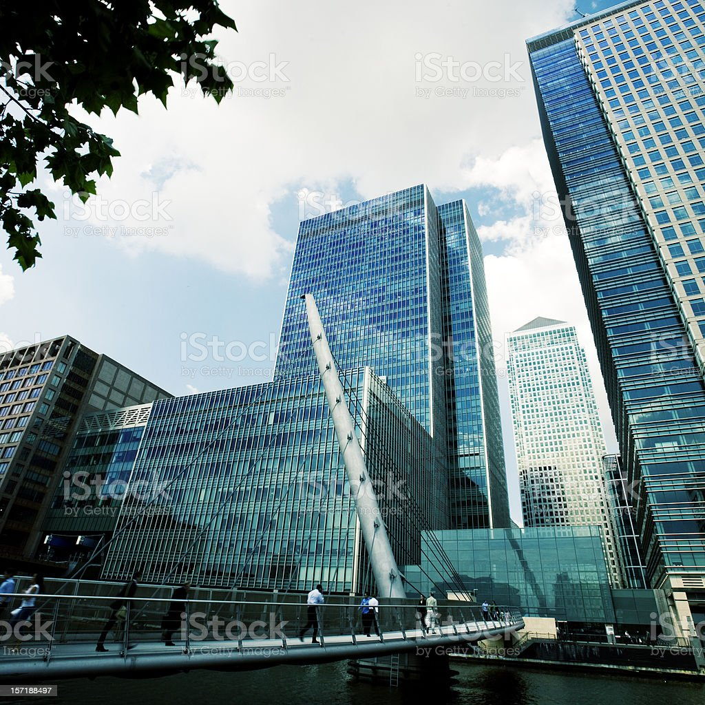 Modern business architecture of the London Docklands district royalty-free stock photo