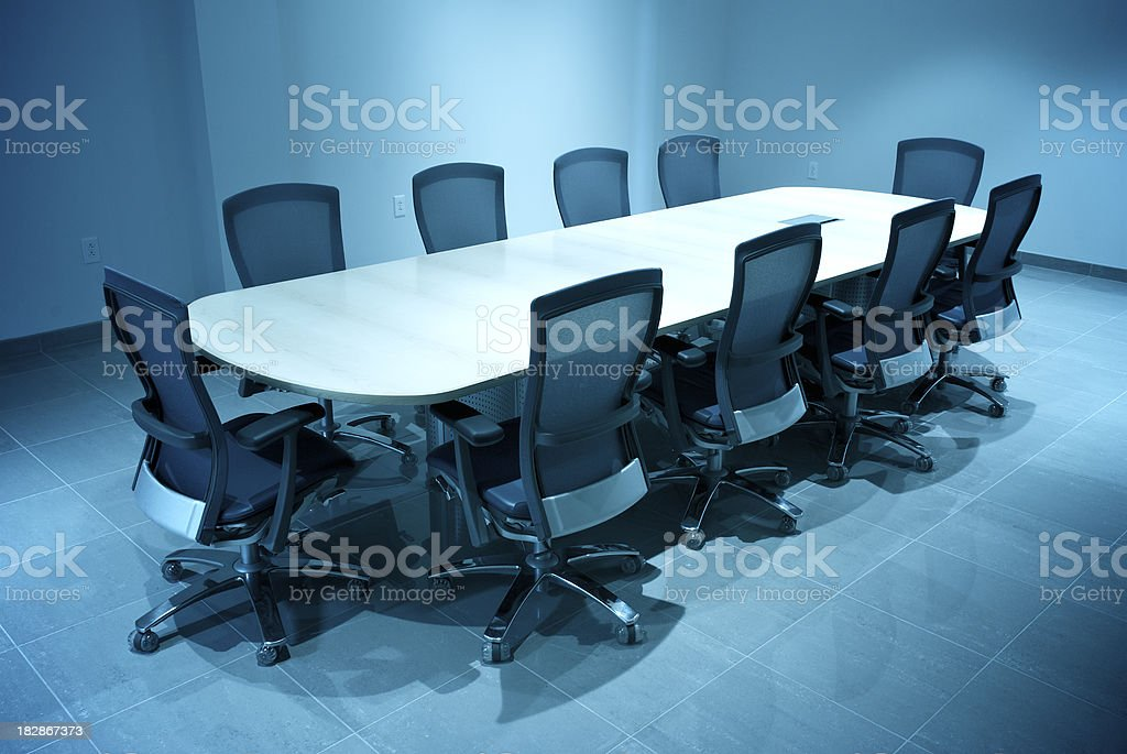 Modern Business Board Room Empty Round Conference Table stock photo