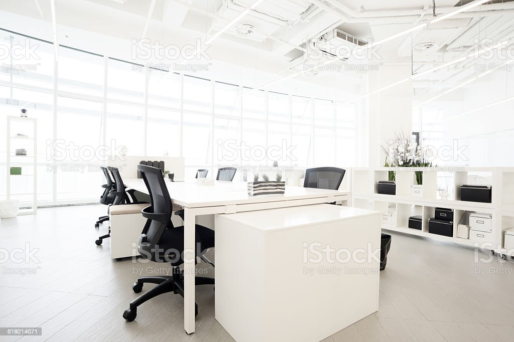Modern business building office  interior in Urban city stock photo