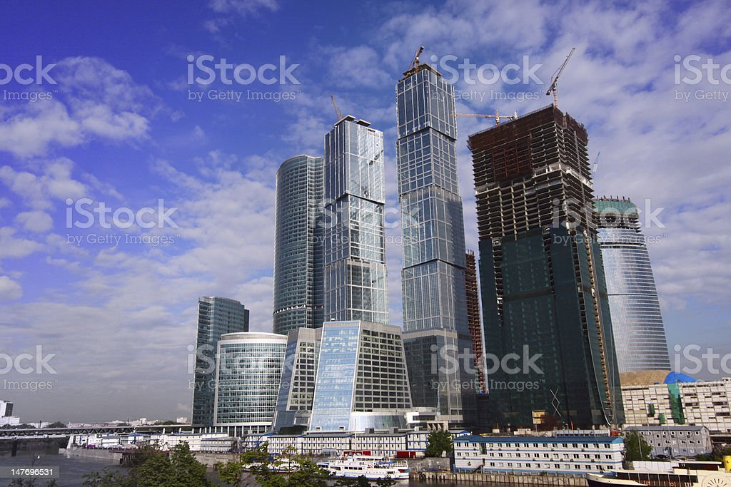 Modern business center by the river royalty-free stock photo