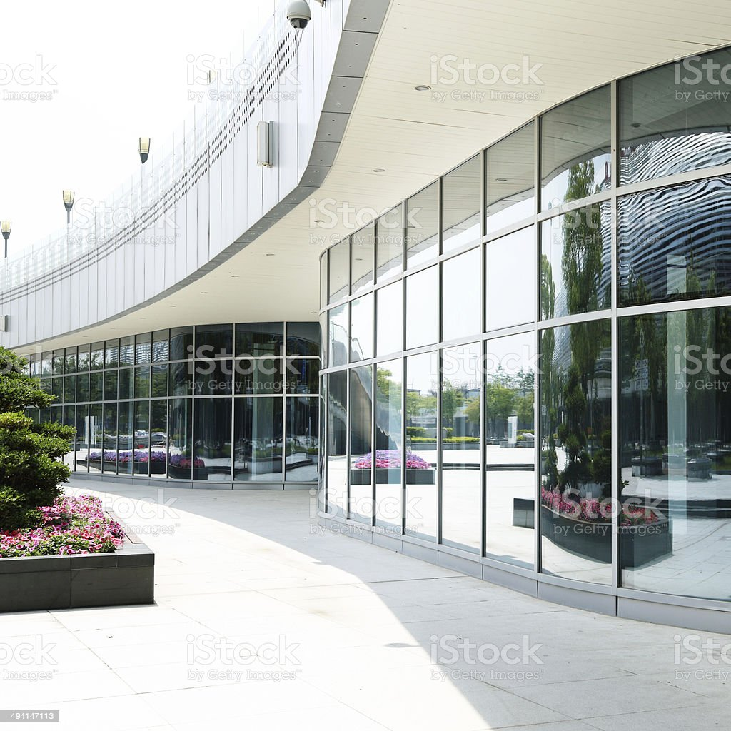 Modern business center square stock photo