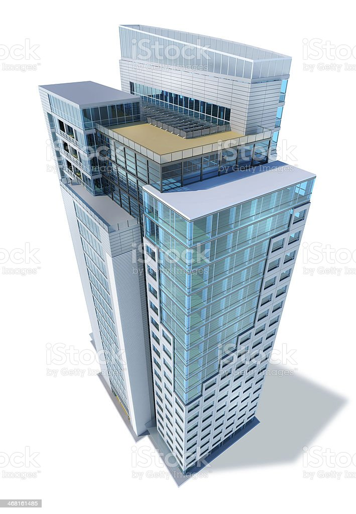 Modern business city office skyscraper building, glass, metal, white background stock photo