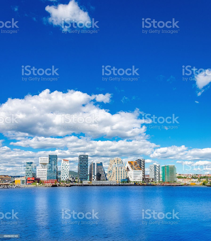 Modern business district in Oslo bay, Norway stock photo