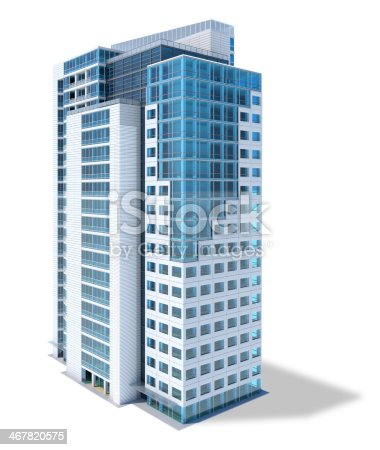 High-rise office building, with large glass facade,  isolated on white background with clipping path. Shadow is left out of clipping path for better editing.