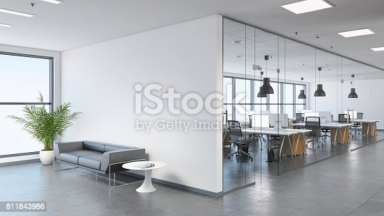 istock Modern business office space with lobby 811843986